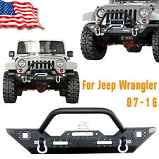 Front Bumper with LED Light Built-in And Winch Plate For 07-16 Jeep Wrangler JK