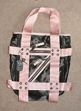 *Juicy Couture* Black & Pink satin tote bag with zip features & silver charms