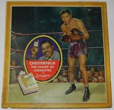 Circa 1940's Joe Louis Chesterfield Cigarettes Boxing Advertising Sign Antique