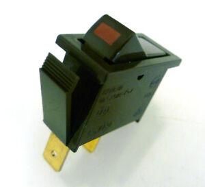 Rocker Switch On/Off 10A 250VAC SPST T85 Dark Brown Red 'ON' OMQ1-2-15