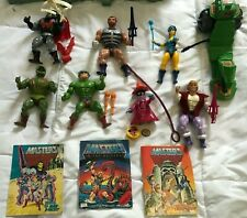 vintage he man masters of the universe lot 7 figures PLUS ACCESSORIES and books