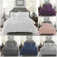 Duvet Cover Set 100% Cotton Pinch Pleat Pintuck Bedding Single Double Super King