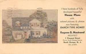 South Orange, NJ ~ Advert Postal - Eugene S. Nostrand Architect -House Plans