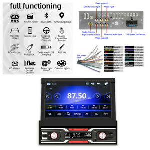 Retractable 7in Touch Screen WINCE Car Stereo Radio MP5 Player GPS Navigation