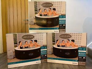 Lay Z Spa 4 Person Miami Hot Tub - 2021 Model - Freeze Shield - 120 Airjets