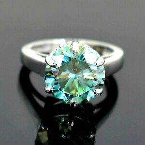Certified 6.90 Ct Blue Diamond Solitiare Ring with Accents!  WATCH VIDEO