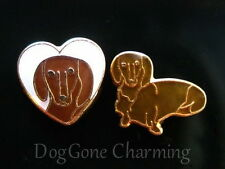 Dachshund Doxie Dog white Heart Set of 2 BRN  Floating Locket Charms