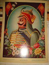 Old Vintage Paper Print of Maharana Pratap from India 1940