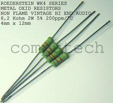 8,2 K Ohm 2W 5% DRALORIC/ROEDERSTEIN WK4 METAL OXIDE RESISTORS TUBE AMP 5 pezzi