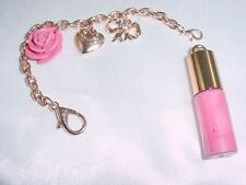 """Vintage Juicy Couture 6"""" Gold Plated Chain Charm Rose Lip gloss  Bracelet  #1616"""