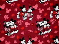 DISNEY MICKEY & MINNIE MOUSE FABRIC LOVE HEARTS ROMANCE 100% COTTON  BY THE YARD