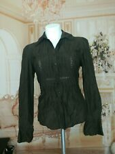Ann Taylor Loft button down Top choco Brown Blouse Lace front Longsleeve S~10