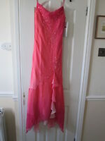 New Pink two tone silk thin strap 1920's style evening dress Size 8/10