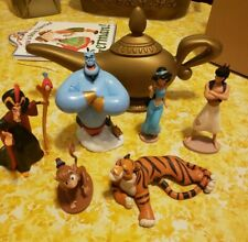 Disney Store Aladdin Deluxe Figurine Figures Set of 6 Toy Playset  + Genie Lamp