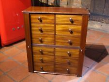 ANTIQUE MAHOGANY WELLINGTON COLLECTORS CABINET 12 DRAWERS