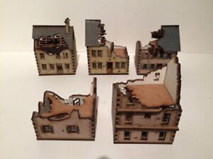 5  x 15mm Normandy ruined PAINTED BUILDING KITS