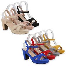 Damen Sandaletten Riemchensandaletten Blockabsatz High Heels 833942 Schuhe