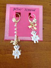 Betsey Johnson SNOW ANGEL POLAR BEAR White Enamel  Mismatch Earrings NWT