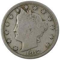 1912 D Liberty Head V Nickel 5 Cent Piece VG Very Good 5c US Coin Collectible
