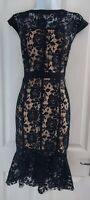 Womens Paper Dolls Dress size 16 NEW black lacey fit&flare midi party occasion