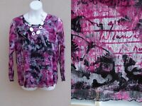 CJ Banks pink black white blouse top plus size 1x EASTER SPRING lined shirt