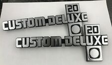 1981-88 CHEVY TRUCK PAIR CUSTOM DELUXE 20 EMBLEMS 14051845 NEW GM NOS OLD STOCK