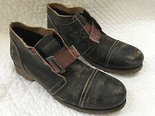 Fly London Mens Ankle Boots Distressed Leather Buckle Strap Size 43 - Rare!