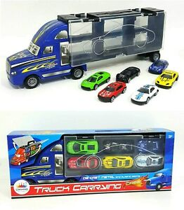 Car Transporter City Road Truck includes 6 Race Cars - Children's Toy Blue Color