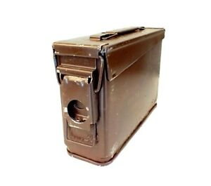 30 Cal Brown Metal Ammo Storage Ammunition Tin Tool Box / Housing Lid & Base