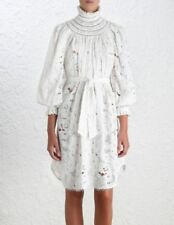 Brand New,w/Tag ZIMMERMANN Off White floral turtleneck long sleeves dress