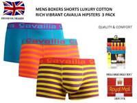MENS BOXERS SHORTS LUXURY COTTON RICH VIBRANT CAVAILIA HIPSTERS PACK 3