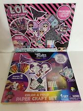 2 New Lol & Trolls Surprise Color & Fold Paper Craft Set 6 Projects