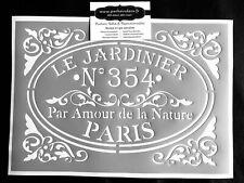 Pochoir Adhésif Réutilisable 30 x 20 cm Affiche Jardinier Vintage / Made in FR