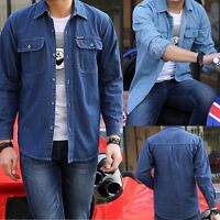 Men's Classic Long Sleeve Button Up Casual Blue Jeans Shirt Denim Dress New
