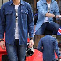Fashion Men's Classic Long Sleeve Button Up Casual Denim Dress Shirt New.