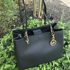 NWT MICHAEL KORS SOFIA LARGE PVC LEATHER SHOULDER TOTE BAG BLACK