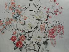 """Sanderson Tessuto per Tende """"MAGNOLIA & Blossom' 2.25 metri di Corallo/Argento-Lino"""