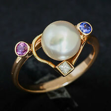 PEARL RING 8.4mm CULTURED PEARL GENUINE SAPPHIRES DIAMOND 9K 375 GOLD SIZE O NEW