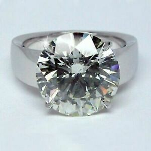 4 CT Round Cut Moissanite Huge Engagement Men's Solitaire Ring 14K White Gold FN