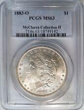 1883 O Silver Morgan Dollar PCGS MS 63 McClaren Hoard Collection Pedigree Coin