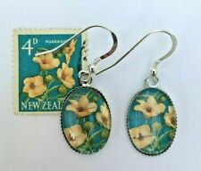 EARRINGS Vintage 1960 New Zealand HIBISCUS FLOWERS Postage Stamps Silver Plated