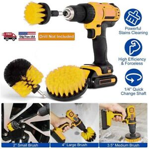 3 Piece Drill Brush Attachment Set All Purpose Power Scrubber Cleaning Kit