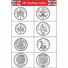 UK Sterling Currency Coin Rubber Stamps Set of 8 - 22mm  - 100k impresions