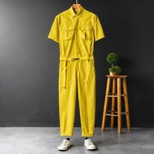 Mens Casual Short sleeve Jumpsuits Loose Summer Siamese trousers Pants Overalls