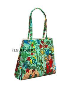 Indian Green Frida Kahlo Floral Purse Cotton Women's Shoulder Messenger Handbags