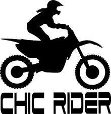 Female motorcycle dirt bike chic rider girl vinyl sticker decal