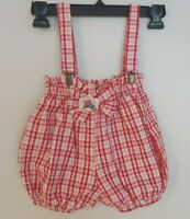 Vintage USA Crayon Baby Girl Bubble Romper Suspender Overalls Red Plaid Sz 18mos