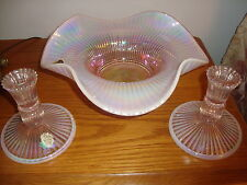 "Fenton Iridescent 11"" Scalloped Bowl &  Pair of Candlestick Holders - Pretty!"