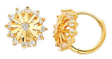 14K Real Yellow Gold Round Small CZ Huggies Earrings for Baby and Children