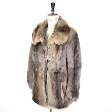 Women's gris marron VINTAGE 70 s Real Coney fourrure de lapin Diva Fête Brillant Manteau M